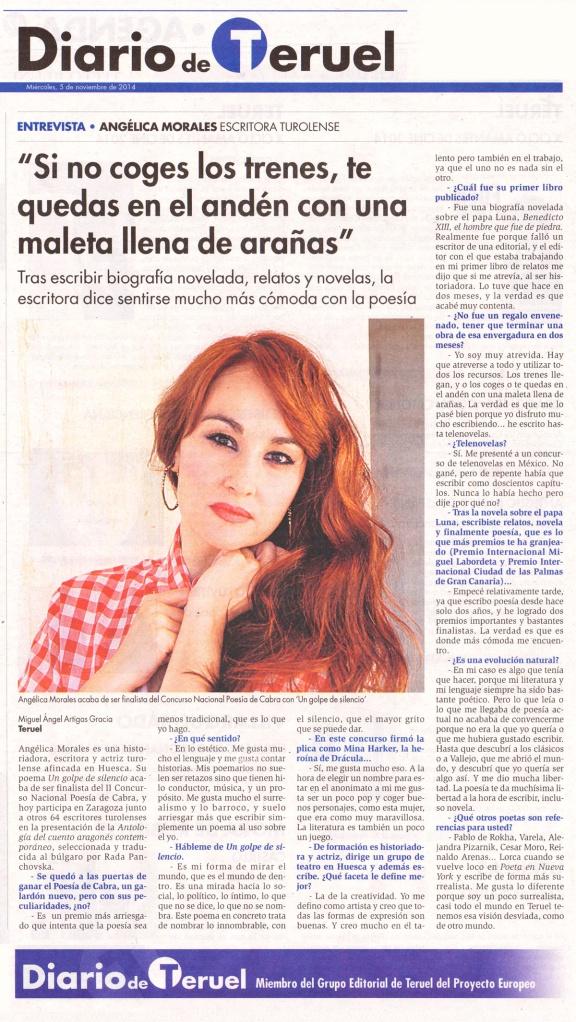 Entrevista a Angélica Morales. Diario de Teruel. 5/11/2014