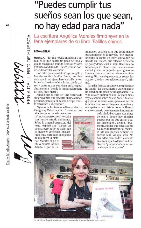 Entrevista a Angélica Morales en el Diario del Alto Aragón (Feria del Libro de Huesca 2016)