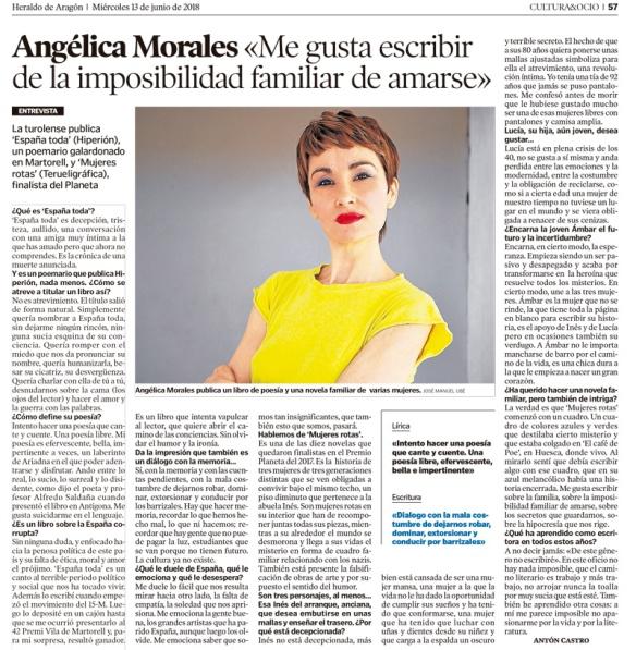 Angélica Morales. Entrevista de Antón Castro en El Heraldo de Aragón, 13-06-2018